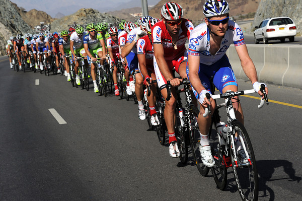 Gabriele Rasch leads the chase on behalf of FDJ...