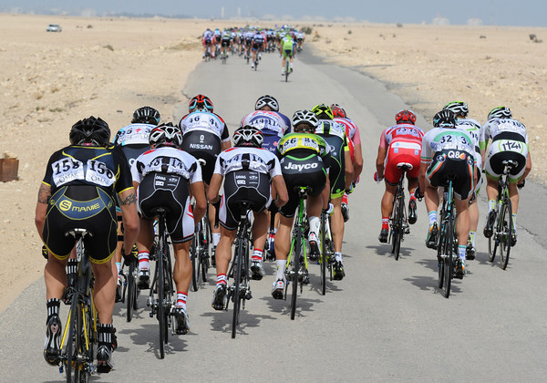 It's been a rapid start to the day - and the wind is rippng into the sleepy peloton...