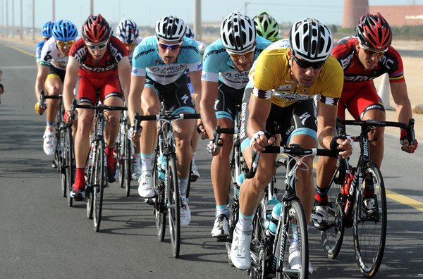 Tom Boonen is leading a front group of about 20 riders on the first of three finishing circuits...