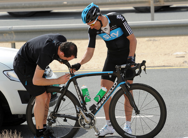 Juan Antonio Flecha gets his bike fixed by a Team Sky mechanic...