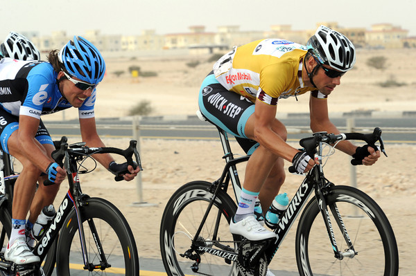 Boonen isn't laughing any more - he's also at the front driving the pace along with Thomas Dekker...