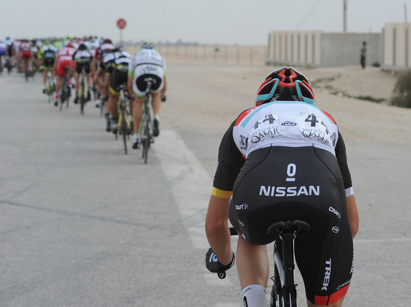 The change in pace has blown Giacomo Nizzolo out of the peloton...
