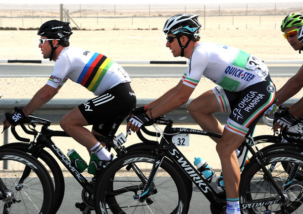 Cavendish has Irish champion Matt Brammeier for company in this multi-coloured peloton...