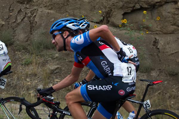 The escape has three Garmin Sharp riders; Zabriskie and Stetina are with Danielson.