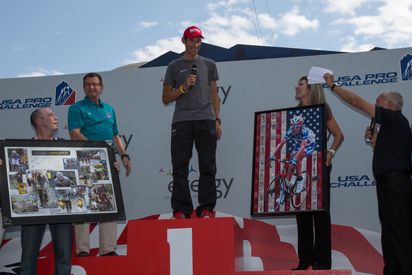 Who else but Phil and Paul to present George Hincapie with some momentos of a great career!