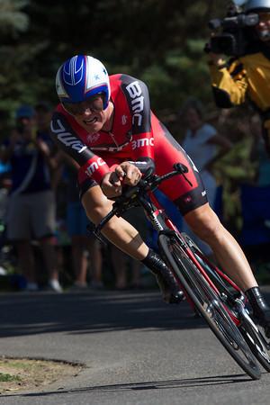 Tejay van Garderen put in a valient ride, coming in 3rd at 19 seconds.