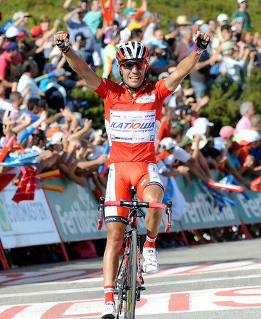 Incredibly, it is Joachim Rodriguez who wins atop the Puerto de Ancares after catching and passing Contador with 300-metres to go..!