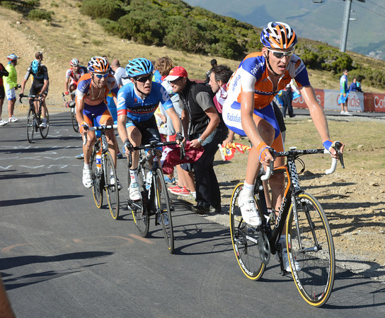 Some time later, Robert Gesink leads Talansky and Ten Dam towards the finish...