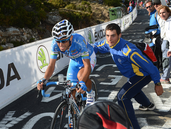 Adrian Palomares needs his push - he's been in almost every escape in this tough Vuelta..!