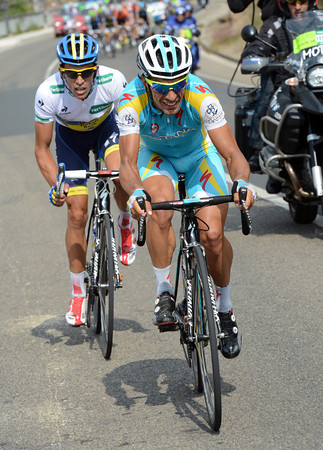 Piero Tiralongo has attacked with Contador with 23-kilometres to go..!