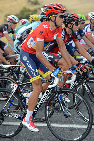 Alberto Contador is just watching the action today, tomorrow's a far more important stage...