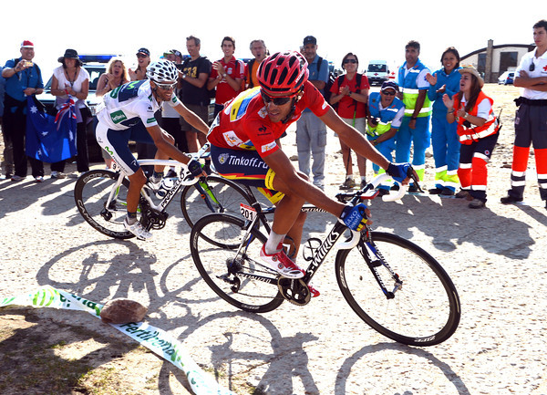 Valverde has re-caught Contador in the last-kilometre - Rodriguez is about 25-seconds ahead...