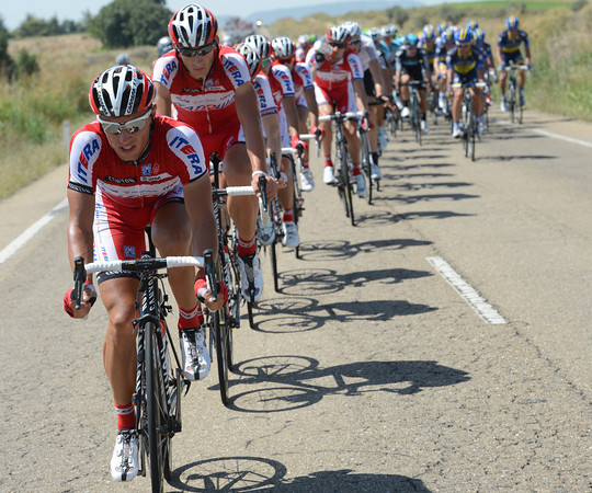 """Katusha are already chasing - and they'll hold the gap at around 3' 30"""" for the next 120-kilometres..!"""
