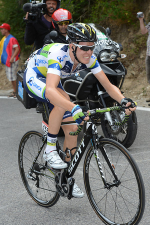 Cameron Meyer is alone and in front as the final climb begins...