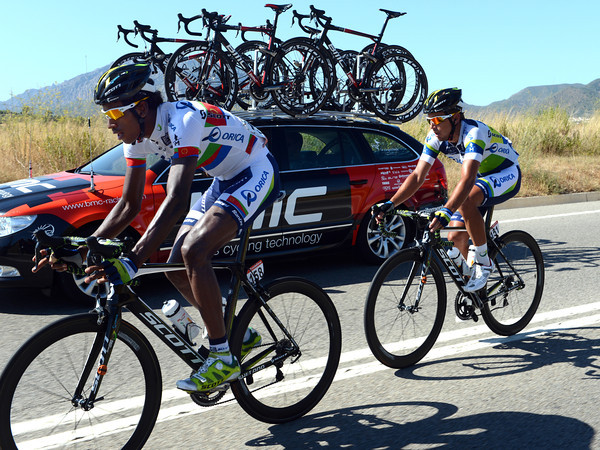 Daniel Teklehaimanot paces Allan Davis back to the peloton on a day that could end in a big sprint...