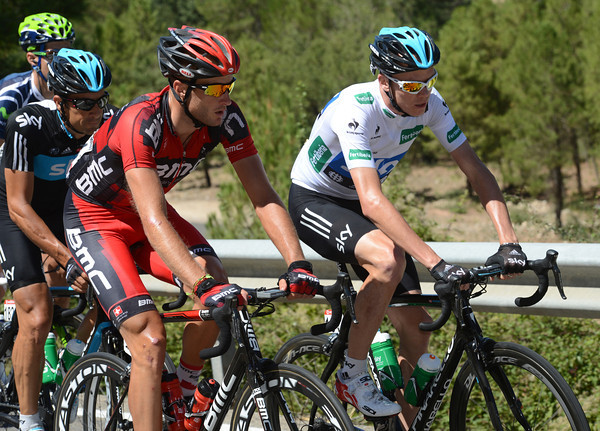 Chris Froome and Steve Cummings have plenty of time and space to chat while others do the chasing...