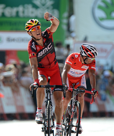 Yes! Philippe Gilbert wins stage nine after attacking on the twisty Montjuic circuit with race-leader Joachim Rodriguez..!