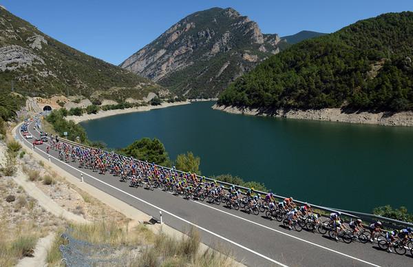 The reservoir near Coll de Nargo welcomes the peloton as it heads south towards Barcelona...