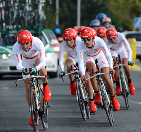 """Caja Rural, wearing special colours denoting their affinity with Navarra, took last place, 1' 27"""" down..."""