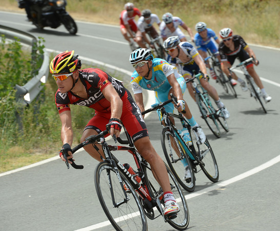 Philippe Gilbert leads the escape through a series of bends - they're sitting on a four-minute lead now...