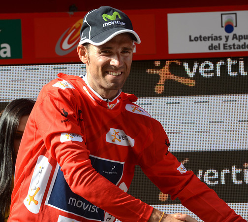 Alejandro Valverde has won the stage and becomes the new race-leader of the Vuelta...