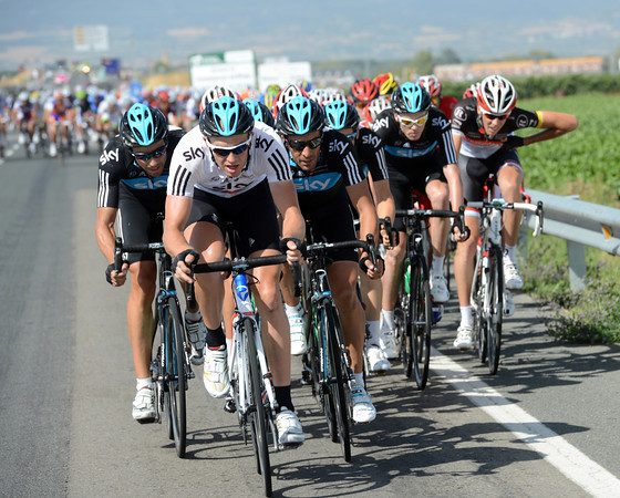 Some time later, Sky have attacked into some nasty crosswinds and broken the peloton...