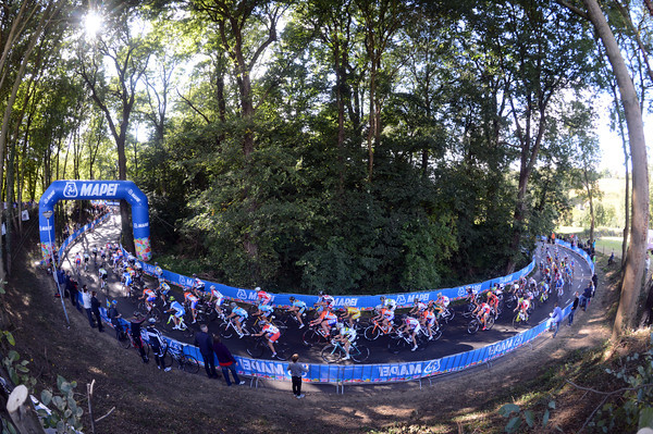 It is a peaceful-looking scene as the womens peloton climbs through the Limburg forests on lap one...