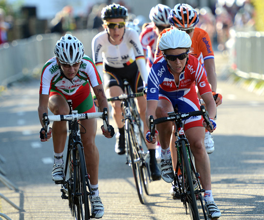 Emma Pooley has made a late effort to close the gasp, but she too is a marked woman today...