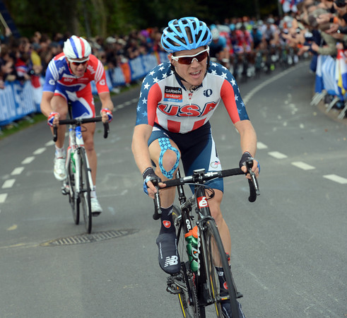 Andrew Talansky has attacked on the penultimate lap - he's chased by Ian Stannard...