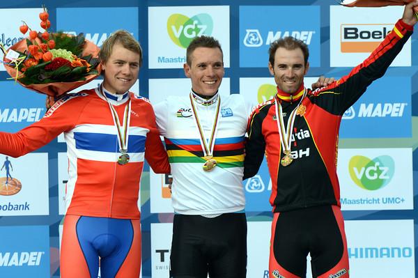 Philippe Gilbert poses with Edvald Boasson Hagen and Alejandro Valverde in Valkenburg...