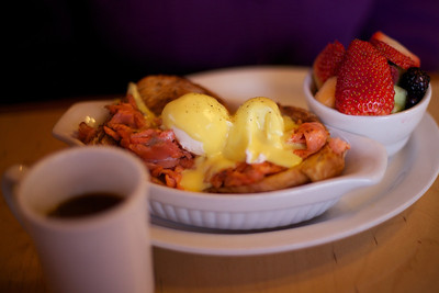Smoked Salmon Eggs Benedict at Chuckwagon Cafe