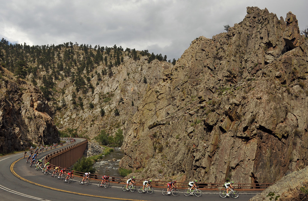 . Cyclists in Big Thompson Canyon during the 115.2 mile 6th stage of 2013 USA Pro Challenge race from Loveland to Fort Collins, Colorado on August 24, 2013. (Photo by Hyoung Chang/The Denver Post)