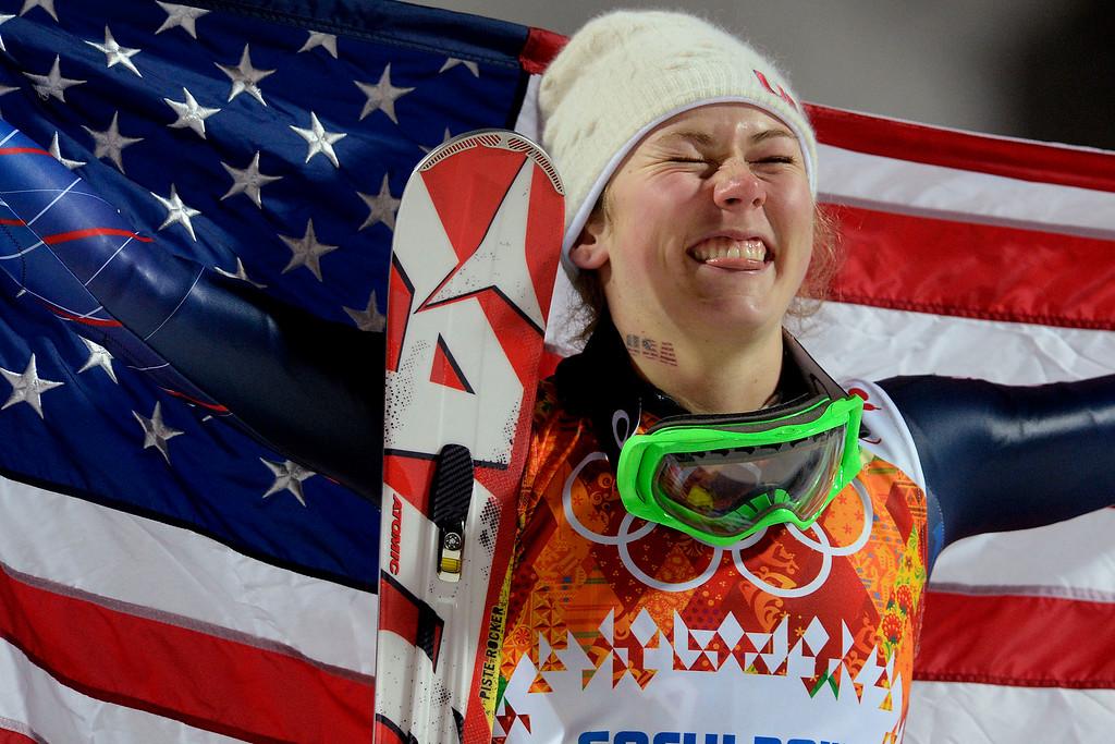 . KRASNAYA POLYANA, RUSSIA - FEBRUARY 20: Gold medalist American Mikaela Shiffrin reacts to winning ladies\' slalom run 2. Sochi 2014 Winter Olympics on Friday, February 21, 2014 at Rosa Khutor Alpine Center. (Photo by AAron Ontiveroz/ The Denver Post)