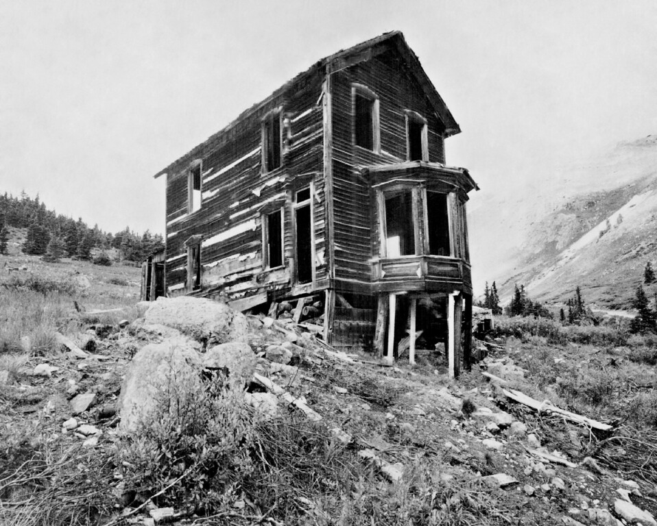 . AUG 20 1968.  The residence of Tom Walsh, standing out in the ghost town of Animas Forks, near Silverton, Colo. This and other buildings might be repaired by James Farrington of Albuquerque, N.M., who has leased the old townsite. Farrington says he and his family might spend their vacations in the repaired buildings.  (Photo by Monk Tyson/The Denver Post Archive)