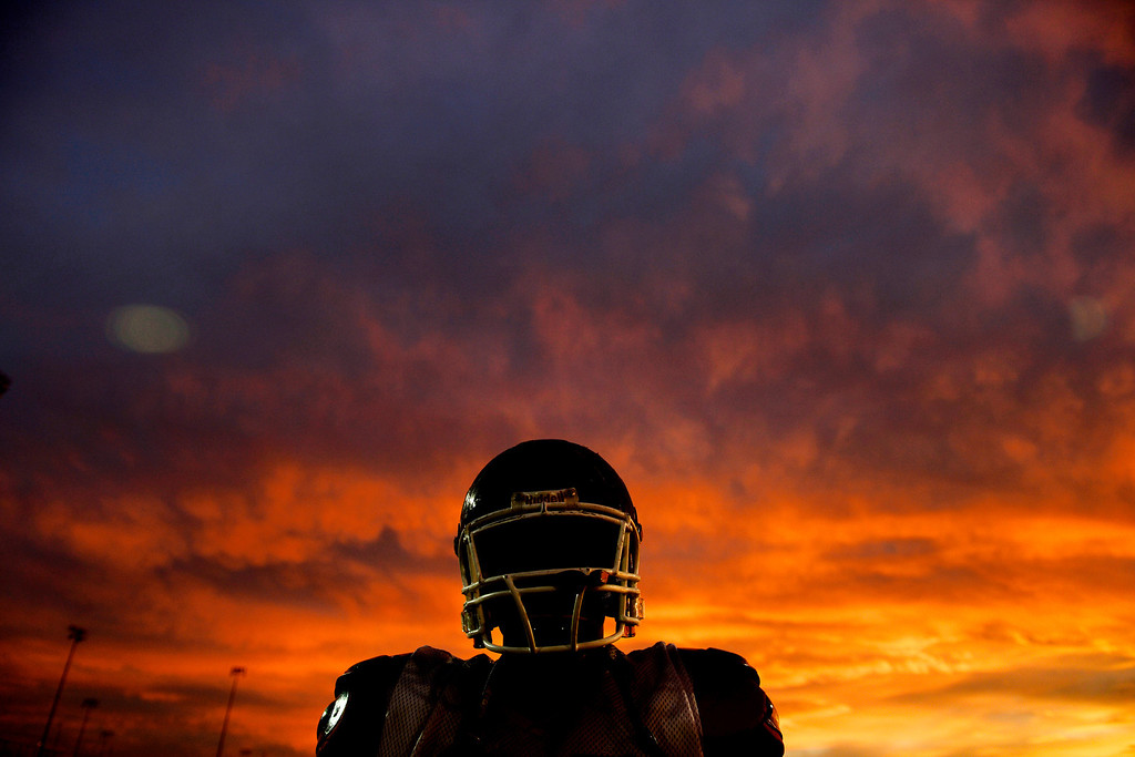 . South High\'s Sam Mabany takes a breather during practice at the school on Wednesday, November 28, 2012. (Photo by AAron Ontiveroz, The Denver Post)