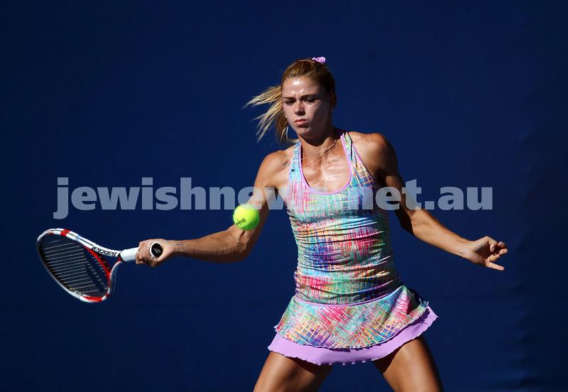 Australian Open 2013. Round 1. Camila Giorgi (ITA) lost to Stephanie Foretz Gacon (FRA) 2-6 3-6. Photo: Peter Haskin