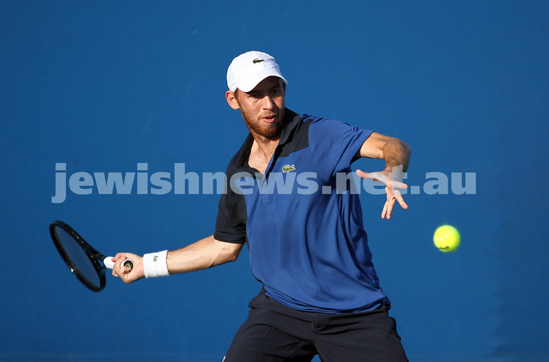 Australian Open 2013. Round 1. JDudi Sela (ISR) lost to Nikolay Davydenko (RUS) 6-3 1-6 5-7 3-6. Photo: Peter Haskin
