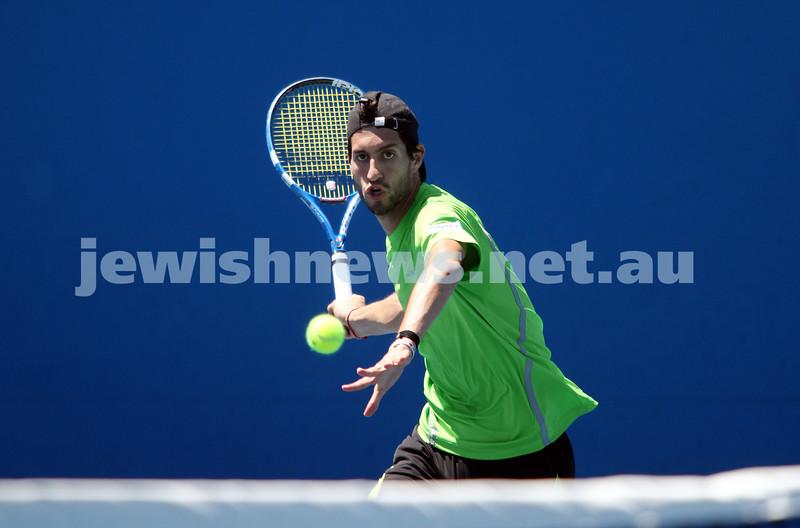 Australian Open 2013. Round 1. Amir Weintraub (ISR) def Guido Pella (ARG) 7-6 7-5 6-2. Photo: Peter Haskin