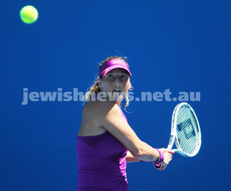 Australian Open Day 2. January 15. Round 1. Shahar Peer (ISR) def Alexandra Panova (RUS) 6-4 1-6 6-3. Photo: Peter Haskin