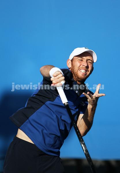Australian Open 2013. Round 1. JDudi Sela (ISR) lost to Nikolay Davydenko (RUS) 6-3 1-6 5-7 3-6. Photo: Peter Haskin