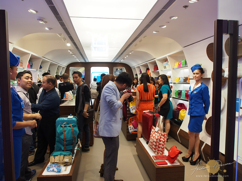 The fuselage interior of the Flight 001 store