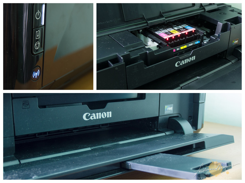 Main buttons and Wifi indicator (top left), Ink Cartridges (top right) and paper output tray (bottom)