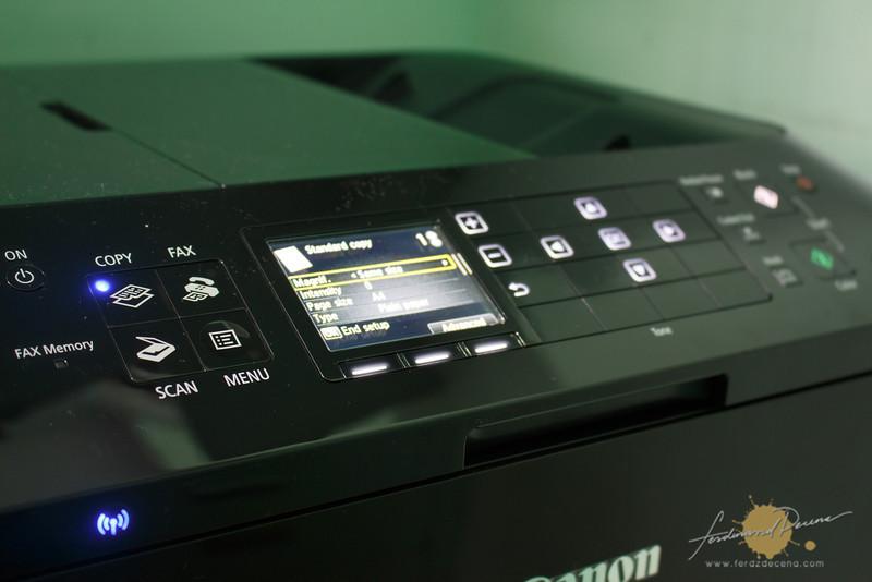 The printer control panel