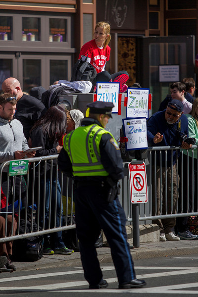 Boston Marathon spectators near the finish line in Copley Square this monday got creative to beat the crowds. (Photo by Micaela Bedell)