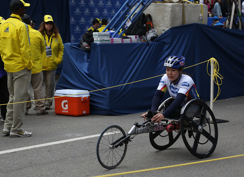 Boston, Mass. April 14- Shirley Riley, from Arizona, finished in fourth place in the women's wheelchair race at the Boston Marathon.  She came in seven minuites after the first place finisher, with a time of 1:52:19. Photo by Hannah Klarner/ Boston University News Service