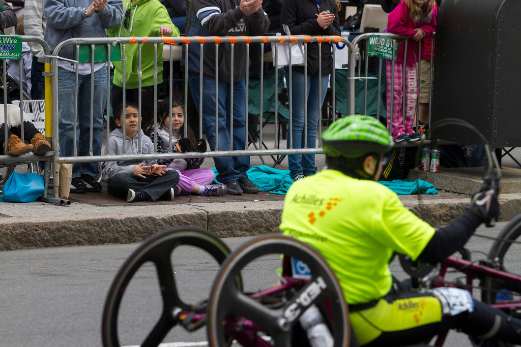 Barricades kept Boston Marathon spectators off the street near the finish line in Copley Square this monday. (Photo by Micaela Bedell)