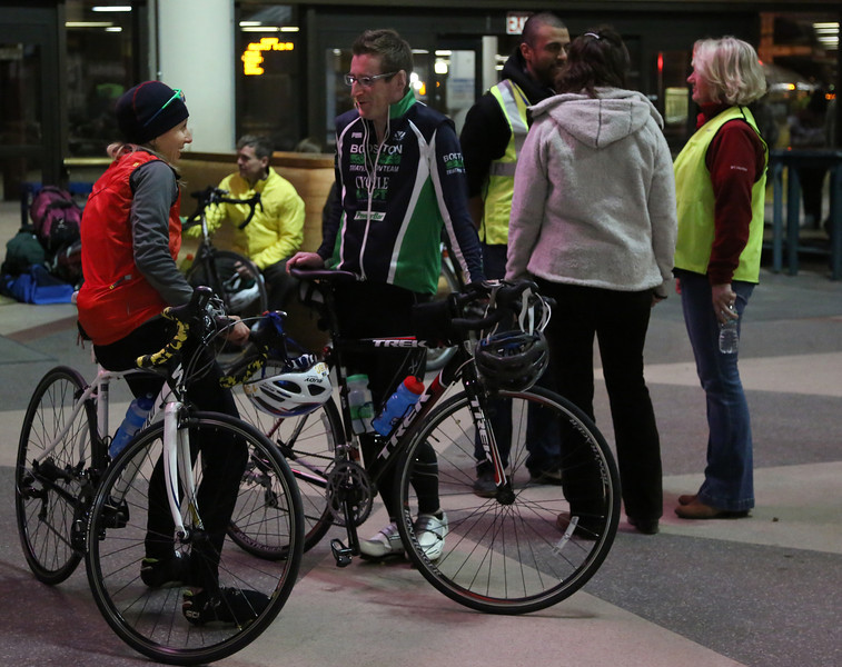 Boston, Mass. April 14- Cyclists began gather at Boston's South Station as early as 8 p.m. to prepare for the annual Midnight Marathon.  From South Station, over 700 cyclists boarded a specially booked train to the start line of the Boston Marathon and then biked the entire course, ending in Copley Square.  Photo by Hannah Klarner/ Boston University News Service