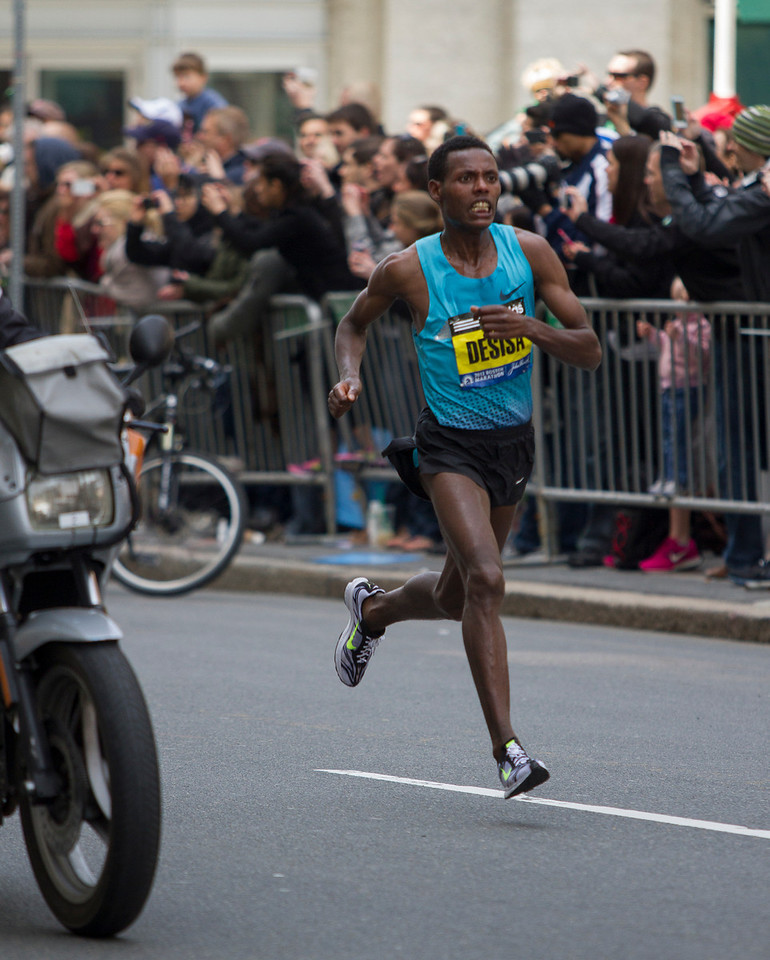 Lelisa Desisa of Ethiopia won the men's race at the 117th Boston Marathon on Monday, clocking in at 2 hours 10 minutes 23 seconds. This is only his second 26.2-mile race. (Photo by Micaela Bedell)