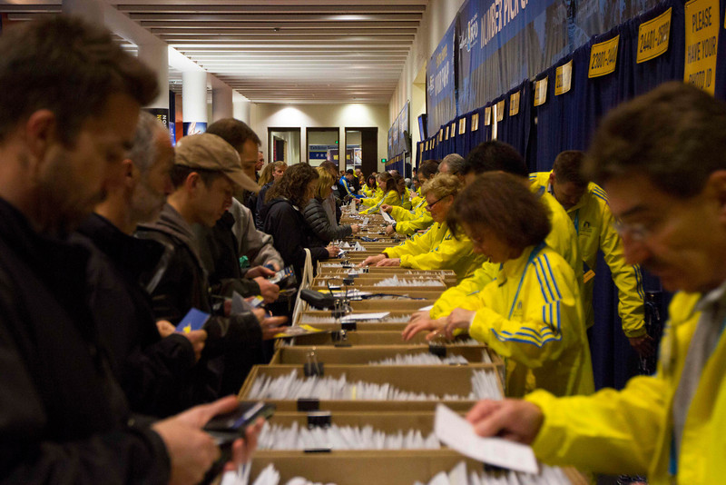 April 12th, 2013 – John B. Hynes Convention Center in Boston, MA is open to public for the 2013 John Hancock Sports & Fitness Expo and Boston Marathon Bib Number Pick-Up. Photo by Xiaolu Liu.