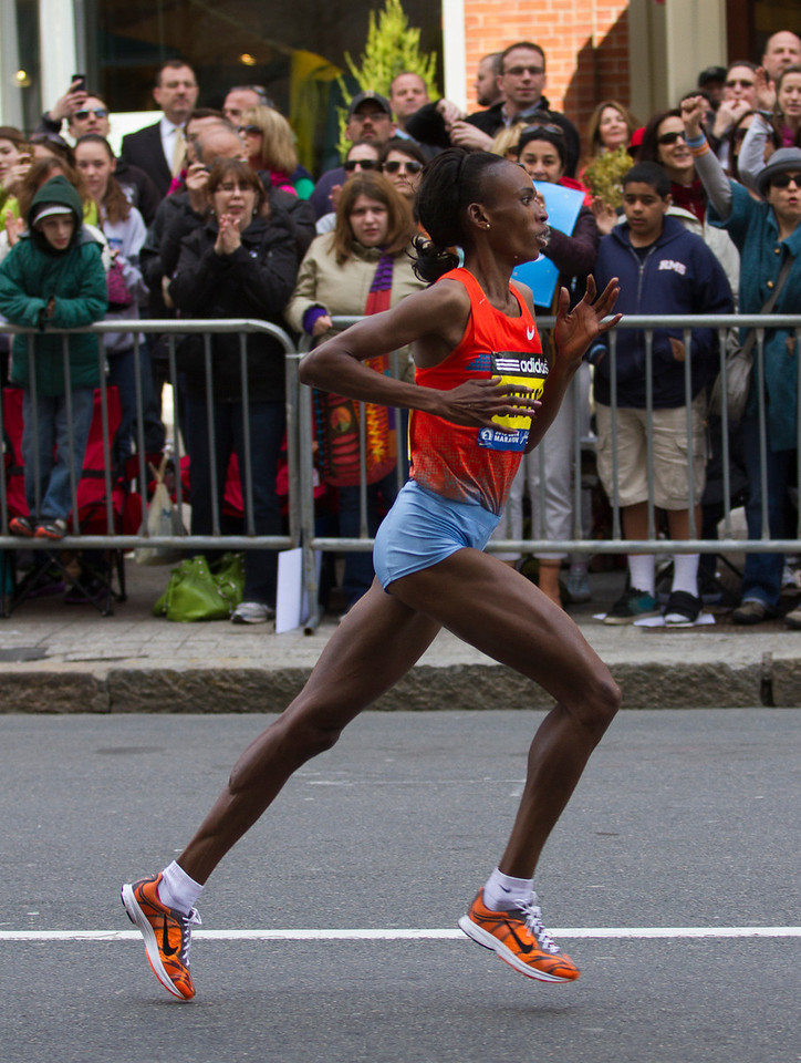 Rita Jeptoo of Kenya won her second Boston Marathon today. Her past win was in 2006. (Photo by Micaela Bedell)